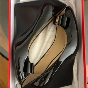 Coach Shoes - Coach Emma Patent Wedge Peep Toe Size 9M